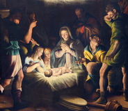 BRESCIA, ITALY, 2016: The painting of Nativity in church Chiesa del Santissimo Corpo di Cristo by Pier Maria Bagnadore Royalty Free Stock Photos