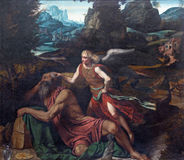 BRESCIA, ITALY, 2016: The painting Prophet Elijah Receiving Bread and Water from an Angel. BRESCIA, ITALY - MAY 23, 2016: The painting Prophet Elijah Receiving Royalty Free Stock Photography