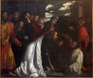 BRESCIA, ITALY, 2016: The painting of Resurrection of Lazarus in church Chiesa di San Giovanni Evangelista Stock Images