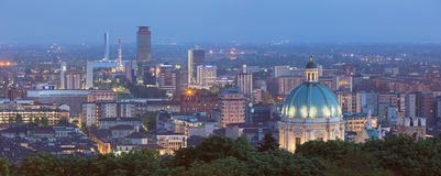 BRESCIA, ITALY: The panorama of Brescia with the cupola of Duomo at dusk. Stock Image