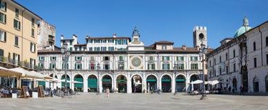 BRESCIA, ITALY, 2016: The panorama of Piazza della Loggia square Stock Photos
