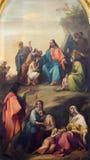 BRESCIA, ITALY, 2016: The panting of Sermon of Jesus in Duomo Nuovo by Michelangelo Grigoletti. BRESCIA, ITALY - MAY 22, 2016: The panting of Sermon of Jesus in stock photo