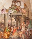 Brescia - Kristi födelsefreskomålningen av Lattanzio Gambara 1530 - 1574 i kyrkliga Chiesa del Santissimo Corpo di Cristo Fotografering för Bildbyråer