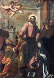Brescia - maluje Jezus frachtuje klucze Peter Theresia i St Avila w kościelnych Chiesa Di Santa Maria del karminach Zdjęcia Royalty Free