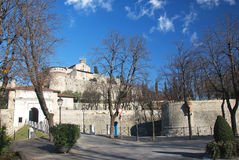 Brescia medieval castle. Brescia center medieval castle on the hill Stock Photo