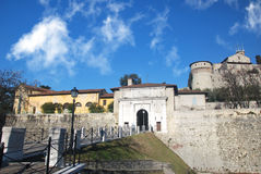 Brescia medieval castle. Brescia center medieval castle on the hill Royalty Free Stock Image