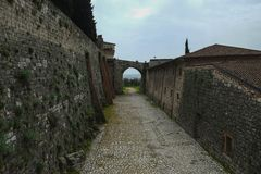 Brescia medieval fortress walls, Italy royalty free stock image