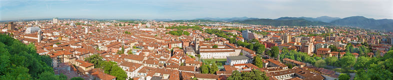 Brescia - The outlook over the Town from castle - panorama. Stock Photos