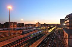 Brescia railroad station at dusk Stock Image