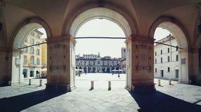 Brescia slott och fyrkant av loggian Royaltyfri Bild