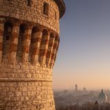 Brescia at sunset, the outlook over the town from the Castle stock photos