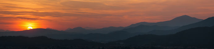 Brescia - Sunset panorama from castle. Royalty Free Stock Image