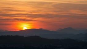 Brescia - Sunset panorama from castle. Stock Photos