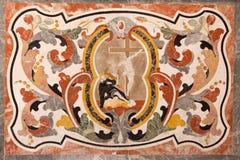 BRESCIA, WŁOCHY, 2016: Kamienna mozaika na bocznym x28 & ołtarzu; Zamiana St Ignace Loyola& x29; Zdjęcie Stock