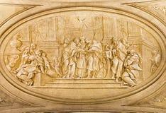 BRESCIA, WŁOCHY: Monochromatic fresk Espousals maryja dziewica i st Joseph w kościelnym Chiesa Di Santa Maria della Przemierzamy fotografia royalty free