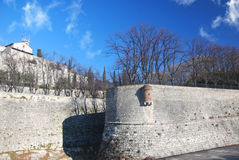 Brescia walls of the medieval castle. Brescia center medieval castle on the hill Royalty Free Stock Images