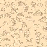 Breskfast doodel seamless pattern. Morning breakfast doodle seamless pattern vector set Royalty Free Stock Photography