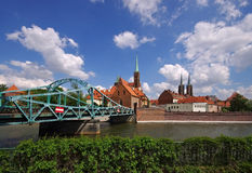 Breslau the cathedral island. And river Oder stock images