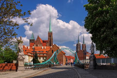 Breslau the cathedral island. And river Oder royalty free stock image