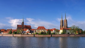 Breslau the cathedral island. And river Oder stock image