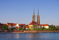 Breslau the cathedral. And river Oder royalty free stock photo