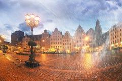 Breslau an der Dämmerung nach Sonnenuntergang Lizenzfreie Stockfotos