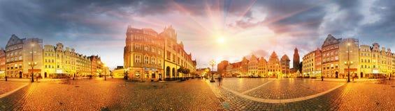 Breslau an der Dämmerung nach Sonnenuntergang Stockbild