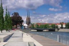 Breslau die Kathedrale und die Promenade Stockfotografie