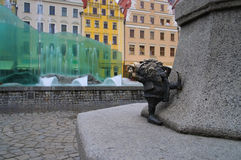Breslau dwarf and fountain. In the city royalty free stock photos