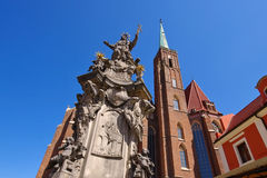 Breslau, the Nepomuk monument. And Holy Cross Church royalty free stock photo