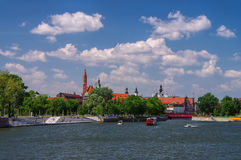 Breslau Skyline of the city. And river Oder stock photography