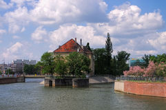 Breslau Skyline of the city. And river Oder royalty free stock images