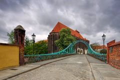 Breslau St. Maria Church and Tumski Bridge. River Oder stock image