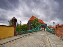 Breslau St. Maria Church and Tumski Bridge. River Oder royalty free stock photo