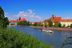 Breslau St. Maria and Holy Cross Church. And river Oder royalty free stock images
