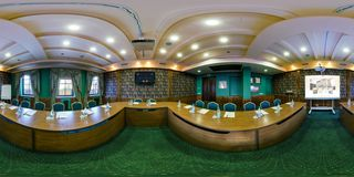BREST, BELARUS - APRIL 27, 2014: Modern loft apartment interior of conference hall, full 360 panorama in equirectangular royalty free stock photography