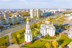 Residential area situated close to cathedral, aerial landscape stock photo