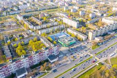 Residential area surrounded by green spaces, aerilal cityscape stock image