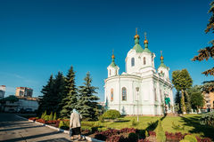 Brest, Belarus. Elderly Woman Walking Near Simeon`s Stylites Cathedral Church Stock Images