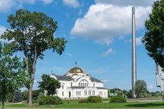 BREST, BELARUS - 28 JUILLET 2018 : Saint Nicholas Cathedral Svyato-Nikolaevskiy Sobor dans le mémorial de forteresse de Brest image stock