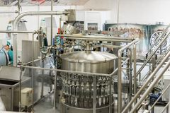 Brest Distillery. The shop for bottling vodka, automatic filling machines. Stock Image