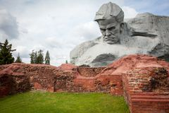 Courage Muzhestvo Monument in Brest Fortress, Brest City, Belarus. Brest, Belarus, May, 2017: Courage Muzhestvo Monument in Brest Fortress, Brest City, Belarus royalty free stock photo