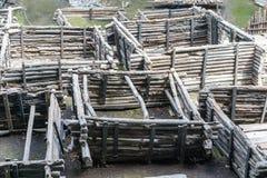 Brest Białoruś, Lipiec, - 28, 2018: Berestye Archeological muzeum - Wschodni Slawistyczny drewniany miasteczko od xiii wiek obrazy stock
