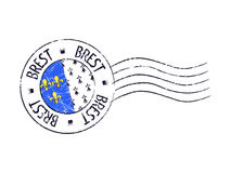 Brest city grunge postal rubber stamp Royalty Free Stock Image