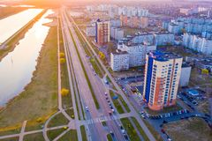 Brest city life on bright day aerial landscape. Urbanization in modern town stock photography