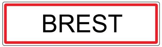 Brest city traffic sign illustration in France Stock Image