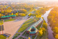 Brest fortress surrounded by river, beautiful trees at sunrise. Memorable place in bright colors. Brest, Belarus - April 19, 2019: Brest fortress surrounded by royalty free stock photography