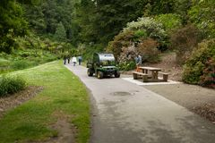 Brest, France 31 May 2018 Landscaper Worker cleaning foot way in park.  stock images