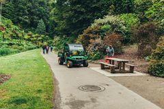 Brest, France 31 May 2018 Landscaper Worker cleaning foot way in park.  Stock Photography