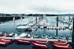 Brest, France 31 May 2018 Panoramic outdoor view of sete marina Many small boats and yachts aligned in the port. Calm water and. Blue cloudy sky royalty free stock photography